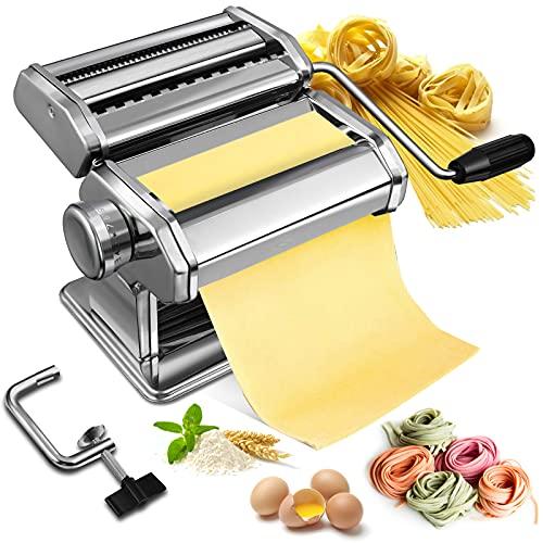 Nudelmaschine Manuelle Soldow Pasta Maker Edelstahl Nudelmaschine mit 2 Verschiedenen Nudelwalzen für Frische...