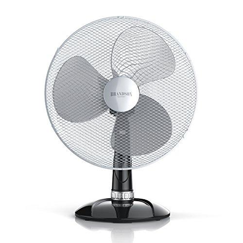 Brandson - Tischventilator 40cm - Tisch Ventilator mit 3-Leistungsstufen - Schreibtischventilator oszillierend...