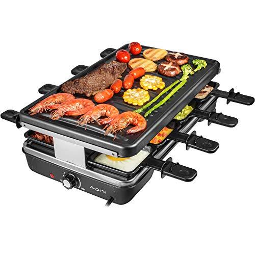 AONI Elektrischer Raclette grill Rauchfreier grill Elektrischer BBQ-Grill mit Antihaft-Grillfläche, 1200W...