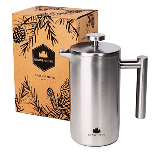 French Press aus Edelstahl von Groenenberg | 0,6 Liter (3 Tassen) Kaffeebereiter doppelwandig isoliert |...