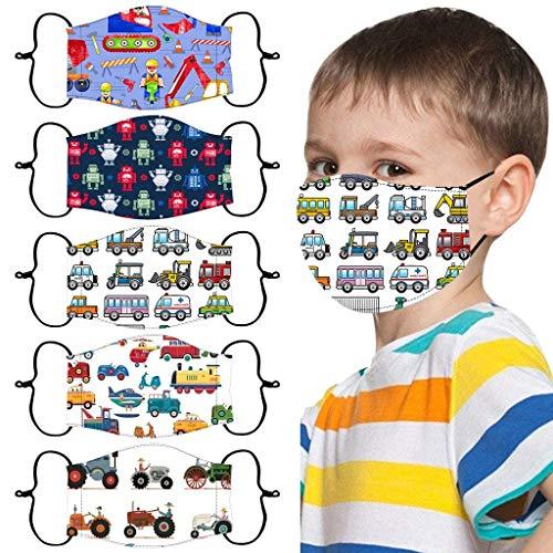 5 Stück Kinder Mundschut Multifunktionstuch Cartoon Auto Muster Waschbar Stoff-maske Verstellbarer Hängendes...