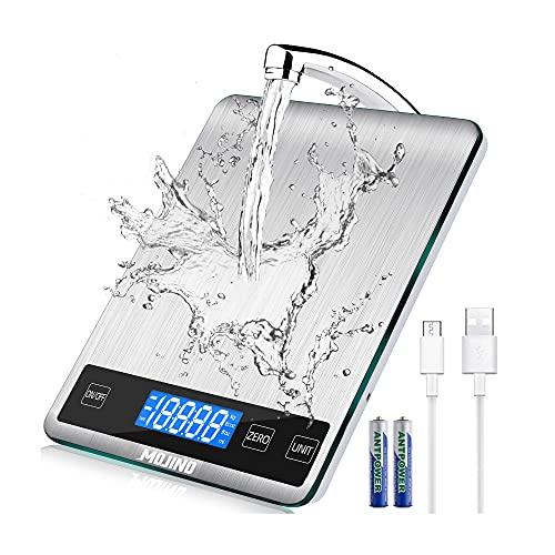 MOJINO Küchenwaage Digitalem, 15kg / 33lb Digitalwaage, 5 Einheiten, g/kg/oz/ml Genauigkeit, Haushaltswaage...