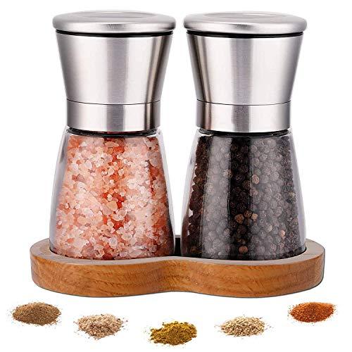 LessMo Gewürzmühle mit Tablett, Pfeffermühle mit einstellbarem Grobheitsmechanismus - Salz- und...
