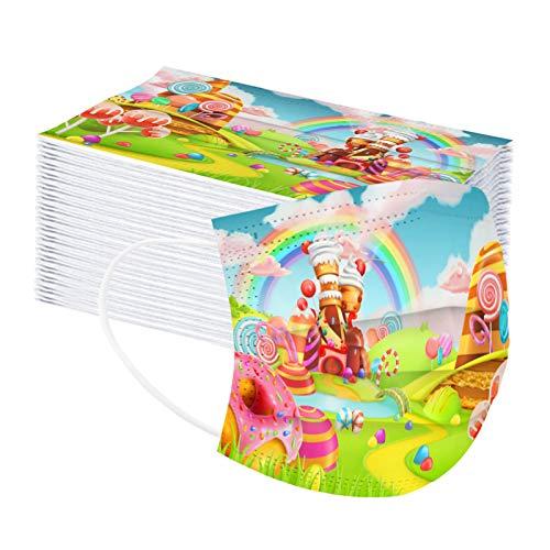 50 Stück Einmal Mundschutz Kinder, Einweg 3-lagig Niedlich Druck Face Cover, Atmungsaktiv Mund und...
