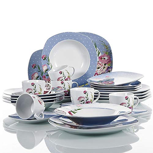 VEWEET 30-teilig Porzellan Tafelservice, Serie 'Hannah', Kombiservice für 6 Personen, Blau mit Floral Dekor
