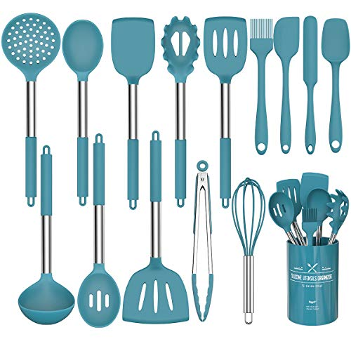 Umiten Chef Küchenutensilien-Set, 15-teilig, Silikon, Marineblau