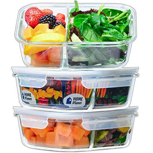 Home Planet® Doppelfach Lebensmittelbehälter Glas 1050ml 3er Set | 97% weniger Kunststoffverpackungen | Meal...