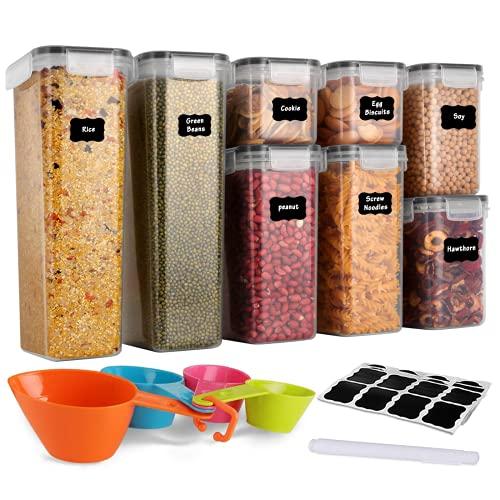 GoMaihe Vorratsdosen 8 Set, Aufbewahrungsbox Küche Luftdicht Behälter aus Plastik Mit Deckel, Vorratsgläser...