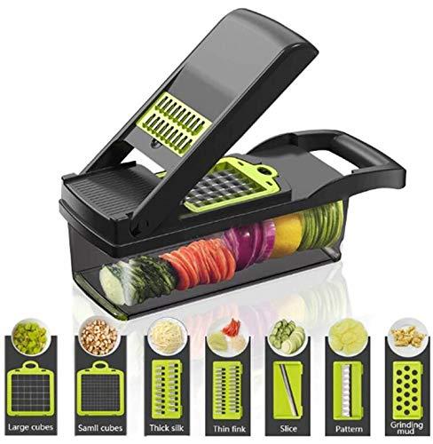 FOOLS ALIBAI gemüseschneider Smart Vegetable Slicer Mandoline,7 in 1 Mandolin Einstellbare Gemüseschneider...