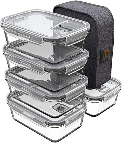 GENICOOK Lunchbox Bento Brotdose mit Lunchtasche/Frischhaltedosen Glas perfekt für Meal Prep - BPA frei und...