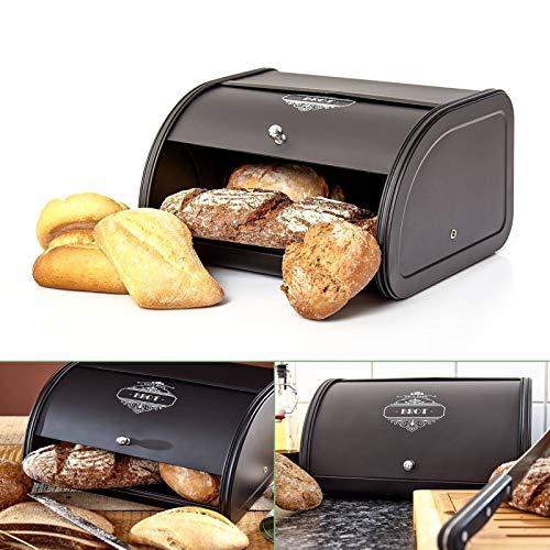 Omi's Beste© Brotkasten aus Metall mit Schiebefach I Brotbox in schwarz I Stillvolle Aufbewahrung für...