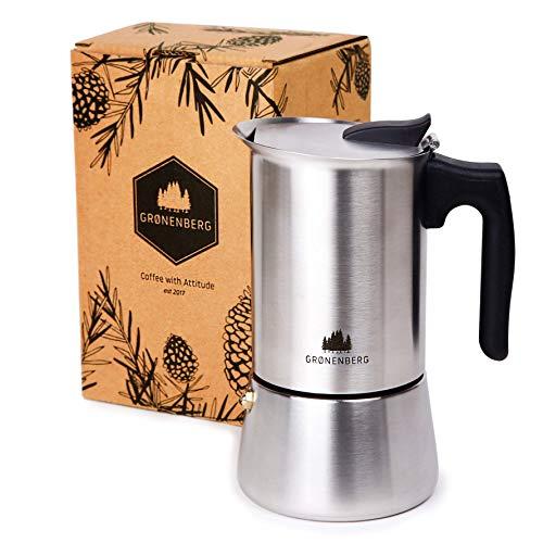 Groenenberg Espressokocher Induktion geeignet   Edelstahl   4-6 Tassen Espressokanne   200-300 ml Mokkakanne  ...