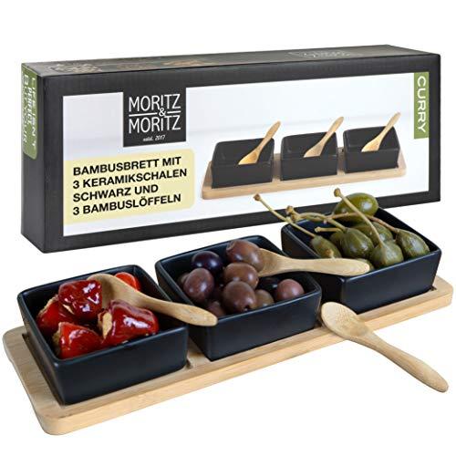 Moritz & Moritz 7 TLG Servierplatte mit Dip Schälchen Curry - Bambusplatte Serviertablett mit Keramik...