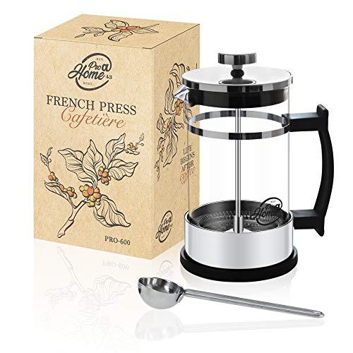 Pro@Home43 French Press Kaffeebereiter 0,6L (4 Tassen), Kaffeepresse, Cafetière, Kaffeezubereiter, Coffee...