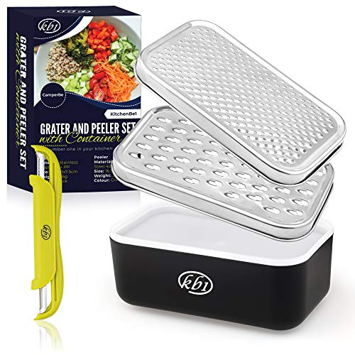 KitchenBe1 - Reibe Edelstahl und Box mit Deckel & Schäler, Aufbewahrungsbox mit schützenden Gummifüßen,...