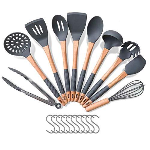 Küchenhelfer Set, Godmorn Kochutensilien, Silikon Kochbesteck Set mit Anti Rutsch Holzgriff inkl.10 Haken,...