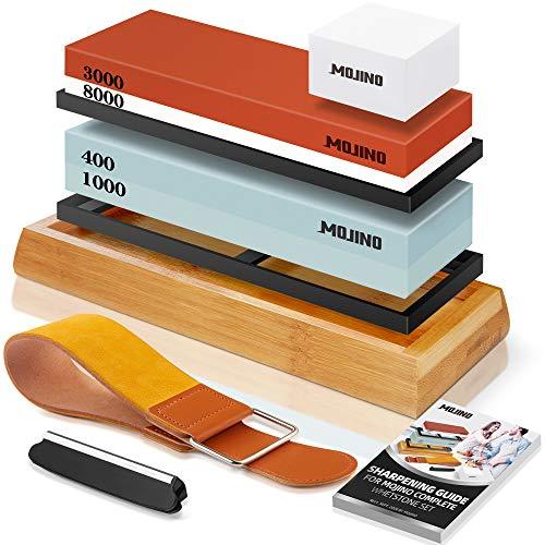 MOJINO Abziehstein Schleifstein Set, Professionell 2-in-1 400/1000 und 3000/8000 Grit Messerschärfer mit...