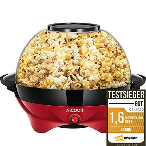 Aicook™ Popcornmaschine für Zuhause, Popcorn Maker Machine mit Zucker & Öl, Abnehmbare Heizfläche,...
