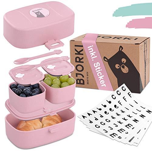 BJORKI Bento Box für Kinder inkl. GRATIS Namensticker - Auslaufsichere Lunchbox mit Fächern - Nachhaltige...