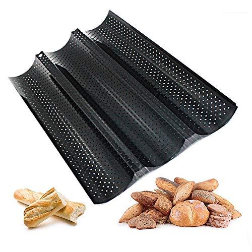 Guanici Französisches Brot Backblech Baguette Backblech Antihaft-perforiert Baguette Pan Brotbackform DREI...