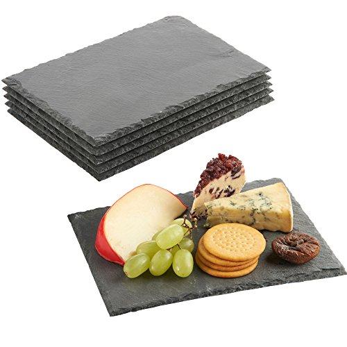 VonShef Schieferplatten 6 TLG. Set - Servierplatten Käseplatten Tapas Serviertablett - Teller aus 100%...