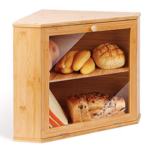 Leader Accessories Brotkasten Bambus Brotbehälter lebensmittelecht Brotaufbewahrung pflegeleicht 32x32x34cm
