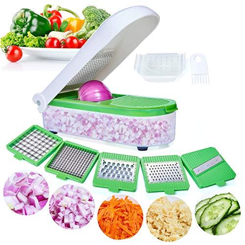 Nurch Gemüseschneider Gemüsehobel Kartoffelschneider 5 Austauschbare Klingen mit Schäler Obst,...
