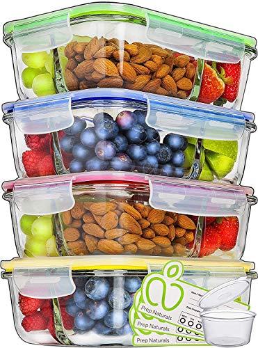 Glas-Frischhaltedosen - 4er Set mit Deckel - Prep Naturals - 1000 ml Behälter - 3 Fächer - Lunchbox-,...