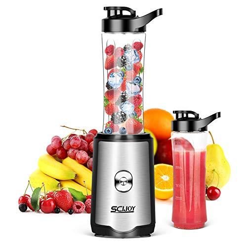 SCIJOY Mixer Smoothie Maker, Standmixer mit 2 BPA-Freien 600ml Tritan Mixbechern, Einfach zu Säubern 350W...