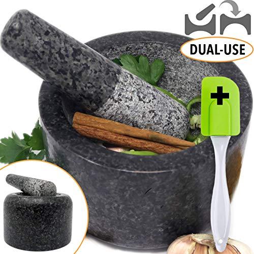 Ezo.Home Granitstößel und Mörser, groß, wendbar, doppelseitig, ideal zum Schleifen von Paste, Stößeln...