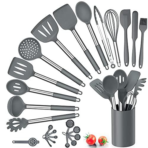 Herogo Küchenhelfer Set, 25 Stück Silikon Küchenutensilien mit Halter, Hitzebeständiger Kochbesteck Set...
