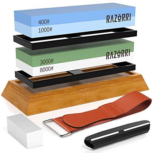 Razorri Abziehsteine Set, doppelseitig 400/1000 und 3000/8000 Grit Schleifsteine mit Abrichtstein,...