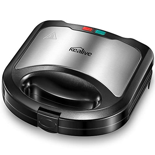 Kealive Sandwich Maker, Ultracompact Sandwich Toaster for Triangular Sandwich Toasts, Non-Stick Coated Plates,...