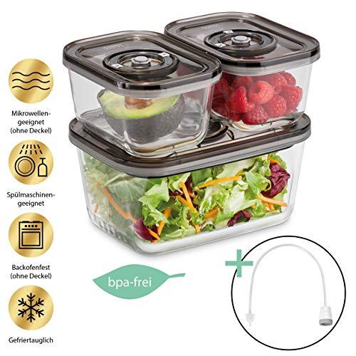 Caso VacuBoxx Eco-Set, 3 stapelbare Vakuumbehälter aus Glas, inklusive Vakuumierschlauch & Adapter für alle...