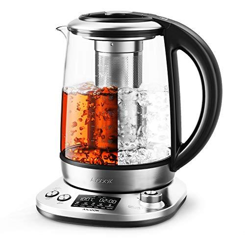 Aicook Wasserkocher 1.7L Edelstahlglas Teekocher Intelligente Teekocher mit LCD Anzeige, Warmhalten für 120...