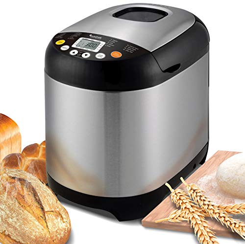 TurboTronic/Brotbackautomat / 500-1000g / silber Edelstahl / 19 Programme für Joghurt, glutenfreies Brot,...