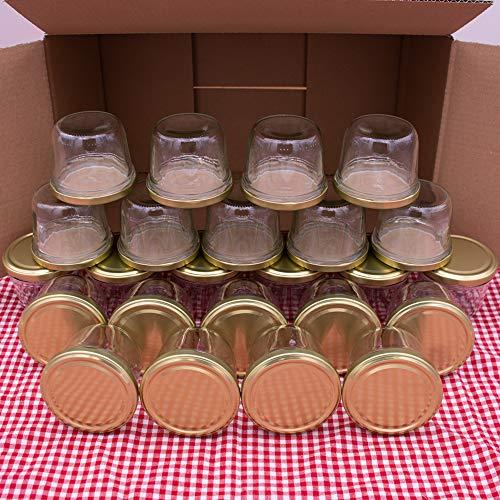 flaschenbauer.de 24er Set Sturzgläser 230 ml inkl. goldene Twist Off Deckel TO82 zum Einmachen von Suppen,...