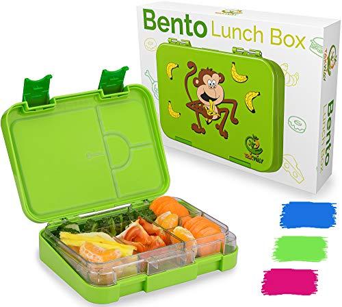 TAKWAY Kinder Bento Box mit Fächern grün | Brotbox mit Unterteilung variabel 4 oder 6 Fächer | Brotdose mit...