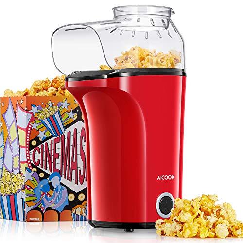 Popcornmaschine 1400W, Heißluft Popcorn Maker Machine für Zuhause, Große Kapazität für bis zu 120g Mais,...