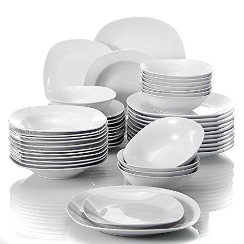 MALACASA, Serie Elisa, 48 TLG. Porzellan Tafelservice Kombiservice Geschirrset, 12 Dessertteller, 12...