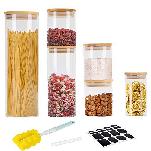 GoMaihe Vorratsdosen 6er Set, Vorratsdosen Glas Gewürzgläser Luftdicht Glasbehälter aus Glasdose Mit Deckel...
