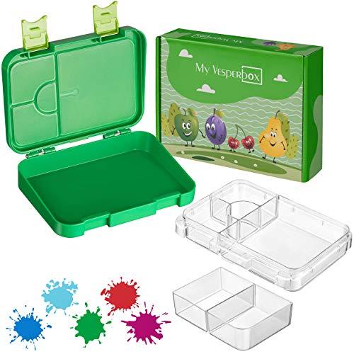 My Vesperbox – Kinder Bento Box - Lunchbox mit 4+2 Fächern - extrem robust und auslaufsicher – Brotdose...