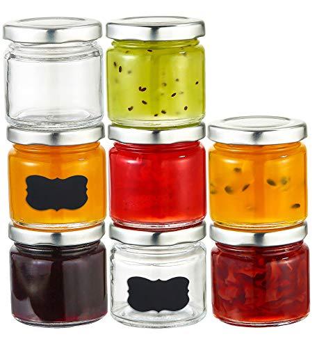 Praknu 25 Marmeladengläser 125 ml mit Deckel, Etiketten - Luftdichte Einmachgläser zum Einkochen &...