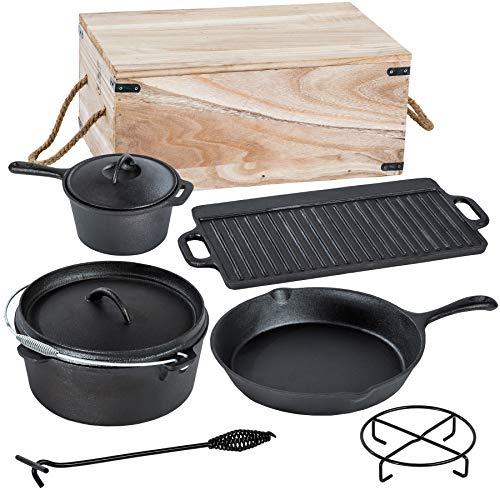 TecTake® 9 teiliges Dutch Oven Kochtopf Set aus Gusseisen in Holzkiste