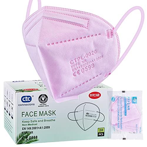 ctc connexions 20 Stück FFP2-Maske Rosa , CE0598-Zertifizierung EN149:2001+A1:2009, 5-Lagige Staubmaske...