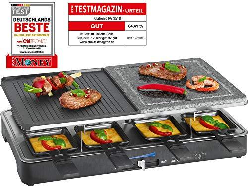 Clatronic RG 3518 Raclette-Grill mit heißem Stein zum Grillen und Überbacken, Wendegussplatte, 8 Pfännchen,...