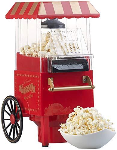 Rosenstein & Söhne Popcornmaker: Retro-Heißluft-Popcorn-Maschine, Miniatur-Rollwagen-Optik, 1.200 Watt...