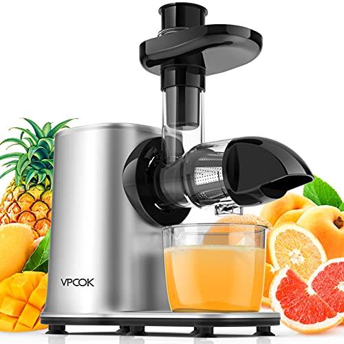 Slow Juicer Entsafter Gemüse und Obst mit 2 Geschwindigkeits, 1 Reisenflasch, BPA-frei Slow Juicer VPCOK...
