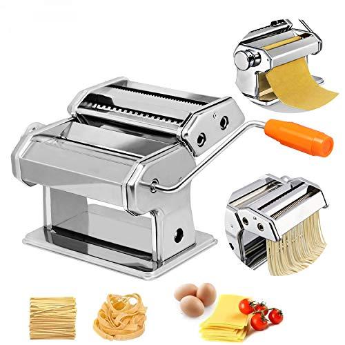 HENGMEI Nudelmaschine aus Edelstahl manuelle Pastamaker Pastamaschine mit 8 Verschiedene Teigdicken für...