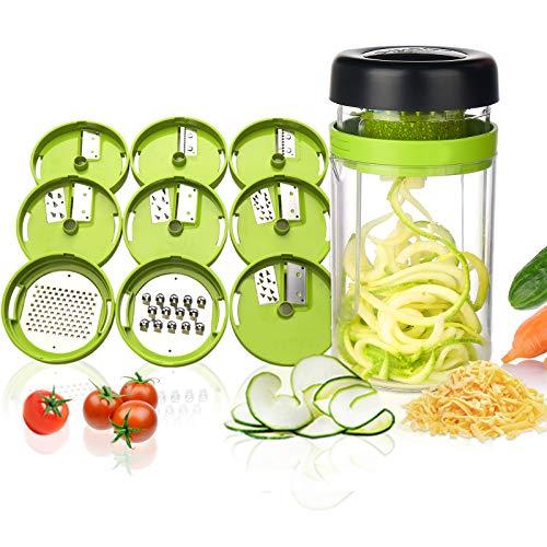 Adoric Gemüse Spiralschneider, 9 in 1 Gemüseschneider mit Behälter, Hand Gemüse Spirallschneider...